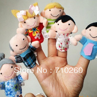 Free Shipping 2013 Baby Plush Toy Finger Puppets Talking Props(6 family group) 6pcs/lot,Best gift for children