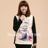 2014 Winter Spring Autumn New Fat Woman Large Sizes Long sleeve Backing Printing Shirt T-shirt XL, XXL, XXXL