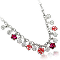 Fashion jewelry candy color necklace chain diamond crystal accessories flower female short design