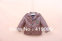 5pcs/lot hot sale boys leather jackets baby leather jacket children winter coat kids outerwear wholesale brown black in stock