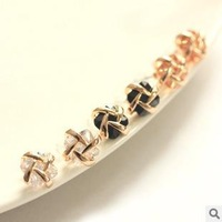 Free Shipping Cross winding zircon 18 k gold plated alloy stud earrings ESY-097