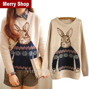 Лучшие продажи 2014 Новый г-н Кролик зима новый корейский Институт ветра свободные пуловеры свитер дамы куртки с длинными рукавами