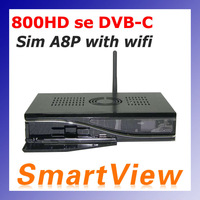 1pc dm800HD se with SIM A8P Card with 300Mbps Wifi Linux TV API receiver dm800se 800HD se DVB-C Cable receiver free shipping