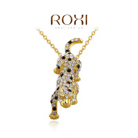 real gold plated fashion leopard pendant necklace for women,set with Zircon crystal,christmas gift for women,ROXI brand