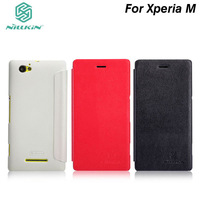 Original Brand NILLKIN Victory series Flip leather case+Screen protector for SONY Xperia M + Retailed package.Free shipping