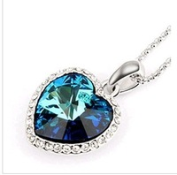 (mix order) Free Shipping & Zircon heart Titanic ocean Heart sweater chain Necklace wholesale