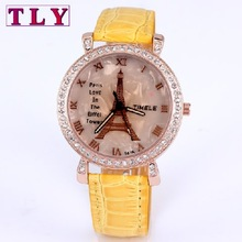 Casual lady watch tower eiffel, New hot fashion women quartz watches, analog leather imitation diamond jewelry, free shipping