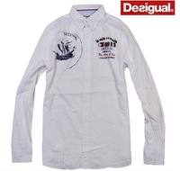 spain desigual men 100% cotton applique embroidery slim fit casual long sleeve shirt M L XL Free shipping