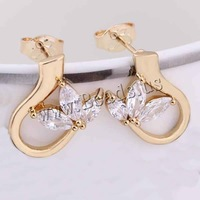 Free shipping!!!Brass Stud Earring,Cute Jewelry, 18K gold plated, with cubic zirconia, nickel, lead & cadmium free, 8mm