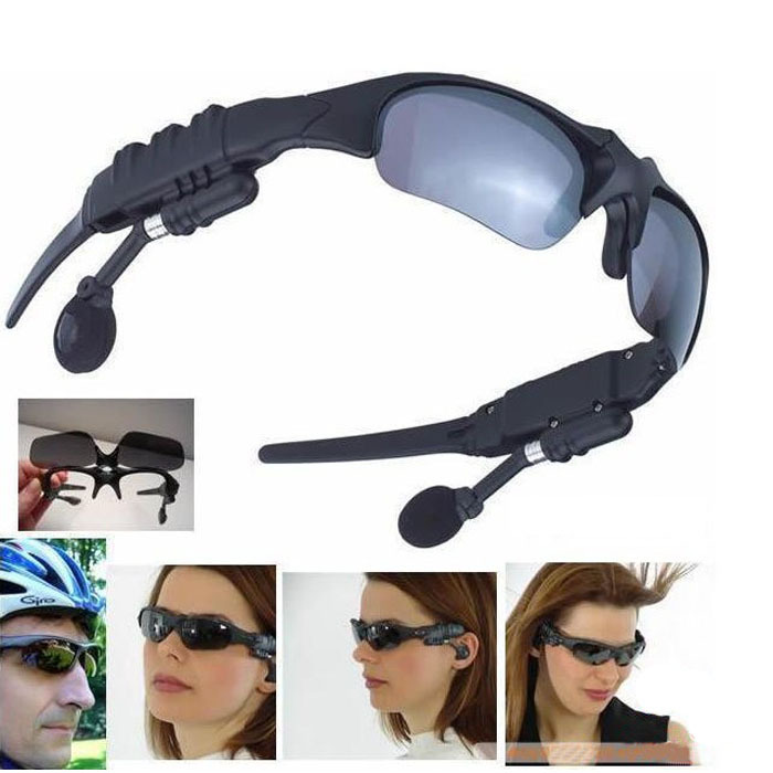 Newest Fashion 2GB MP3 PLAYER Bluetooth Sunglasses Headphones Headset for iphone samsung Free shipping &wholesale(China (Mainl