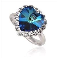 (mix order) Free Shipping & Fashion Full rhinestone heart crystal ring wholesale