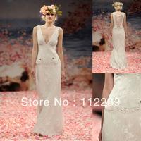 Sexy Deep V-neck Mermaid Lace Appliqued Floor Length Zuhair Murad Wedding Dresses HZ3655