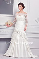 Fashion New Elegeant Cheap Lace Applique Ruffles Sweetheart Formal Bridal Gowns