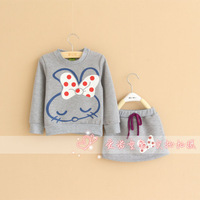 2013 new cotton rabbit long sleeve o neck girls t-shirt kids sweatshirt children clothing free shipping