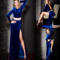 Long Sleeve High Neck Royal Blue Velvet Beaded Sash Sexy Back Open Evening Dress
