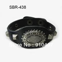Free Shipping, 5pcs/ 1lot Wholesale Zinc Alloy Black Leather Biker Bracelets