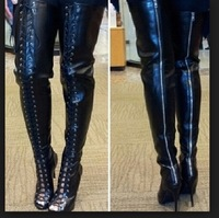 sexy open toe lace up leather thigh high boots gladiator high heel summer bootie 2014 brand shoes