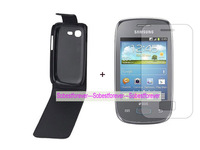 new black Flip leather case cover+1X clear screen protector lcd film For Samsung Galaxy Pocket Neo S5310