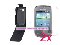 For Samsung Galaxy Pocket Neo S5310,leather case cover+2x clear screen protector lcd film guard,High quality