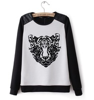 Europe brand women black and white tiger head stitching digital three-dimensional printing Quality pullover sweater