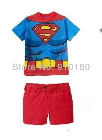 New 5 sets/lot baby girls boys cartoon superman summer clothing set kids t shirt+short jeans 2pcs set chidlren's clothes(China (Mainland))