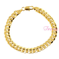 7mm Mens Womens18K Yellow Gold Filled Bracelet Bangles Link Curb Chain Fashion Jewelry