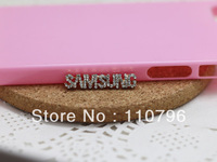 Free Shipping 20pcs/lot Golden Full Diamond LOGO 28*5mm Phone Case Beauty DIY Alloy Phone Case Jewelry Accessories Wholesale