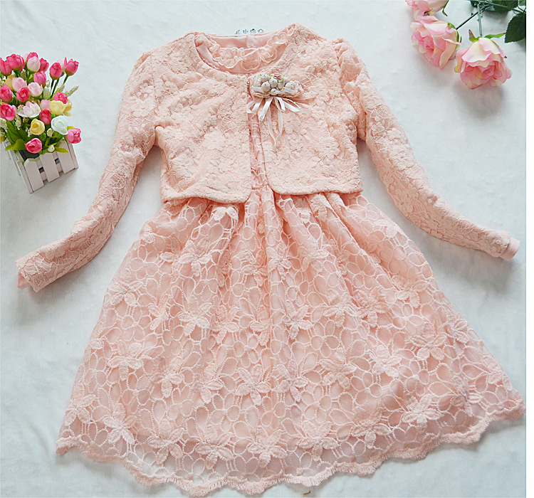 [LOONGBOB]2013 New children dress baby girl's spring autumn 2 pcs set dress + top coat sweet lace princess dress(China (Mainland))