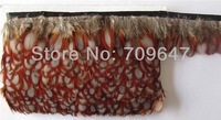 Wholesale!Tragopan Caboti Feather Fringe Natural Colour 10Meters trim Height 5-6cm  FREESHIPPING