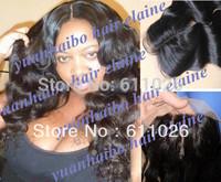 "Human hair piece 4""x4"" #1b brazilian virgin loose wavy three part lace closure bleached knots free shipping"
