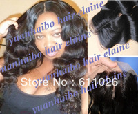 "Human hair piece 4""x4"" #1b brazilian virgin loose wavy three part lace closure bleached knots free shipping"
