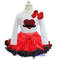 Red Black Pettiskirt Plus Bling Red Heart Mustache White Long Sleeves Top 1-7Y