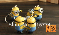 Cartoon Despicable Me 3D Eye Small Minions Figure PVC Toy Kid toy KeyChain Free Shipping (3 pcs/set)
