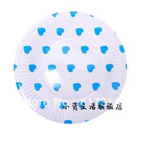 Wholesale 7inch Blue Love Heart Wedding Party Plate,Disposable  Food Paper Plate,Party Decoration,Free shipping 100pcs/lot