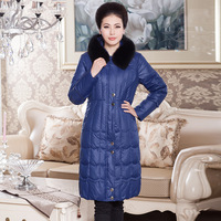 2013 New Winter Women's Duck Down Jacket Hooded Medium Long Fox Fur Thicken  Outerwear Parka Black Plus Size XXXXXL Luxurious
