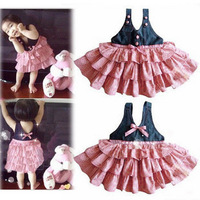 2013 children's clothing summer female patchwork braces skirt dress e22 layered dress