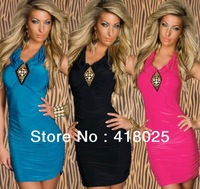 New Fashion 2014 Halter Backless Strapless Dress Bodycon dress Sexy women elegant dresses Black Red Blue Tee Dress OLS332