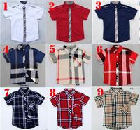 Summer Kids Brand Shirts 2013 Children Cotton Short Sleeve casual plaid Shirts Boy England Style shirt Retail! Free Shipping
