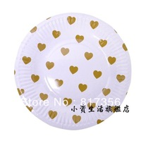 Wholesale 7inch Gold Love Heart  Round Party Paper Plate,Cake Paper Pate,Party Supplies,Free shipping 100pcs/lot
