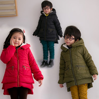 BL-5, children coat, winter thick medium-long velvet fleece hood jacket.