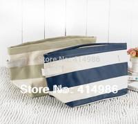 HOT Free shipping 2014 new arrival hot white blue striped high quality canvas storage bag handbag HZB085
