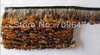 10Meters/Lot!Height 5-6cm Reeves Pheasant Gold Yellow Plumage Feather Fringe of Natural Color FREESHIPPING