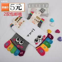 Socks socks cartoon socks anti-odor toe socks 100% five-toe socks cotton socks toe 2 double