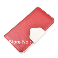 Lafon brand Pink original Leather Cover Case Wallet For Samsung SIV i9500 Galaxy S4 case with Holder &Credit Card Slot Freeship