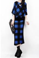 Autumn winter woman hit color plaid batwing sleeve  elegant loose maxi sweater dress ankle length basic dress oversize  jersey