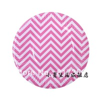 "Newest!! Wholesale 7"" (18.5cm) Pink Chevron Disposable Paper Plate,Party Paper Pate,Food Paper Plate,Free shipping 100pcs/lot"