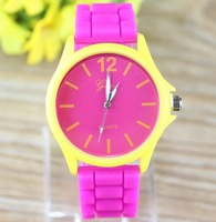 Jelly Watch geneva Sports Watches Candy color Unisex silicone watch analog casual watches New 2014