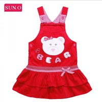 HK SUNO 2014 Hot sale fashion designer baby girl's dress, brand kids dresses, children clothing with bear