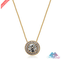 Wholesales Fashion Jewelry 18K Gold Plated Rhinestone Crystal Vintage Round Necklaces & Pendants for women 1226