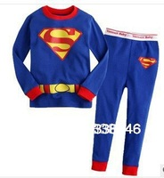2013 New Cotton Superman Kids Girls Baby's Pajamas Children Clothing 2 pcs Set Cute Outfit Costume